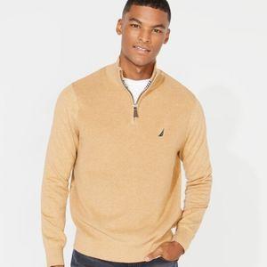 NAUTICA Zip Front Mock Neck Sweater Camel
